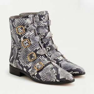 J.CREW MULTI-BUCKLE BOOTS IN SNAKE-EMBOSSED LEATHE